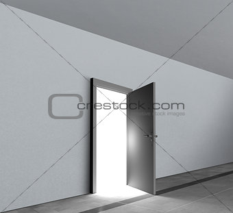 Door open showing bright white light shining