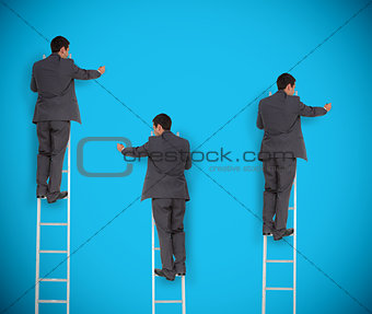 Multiple image of businessman writing something on a wall