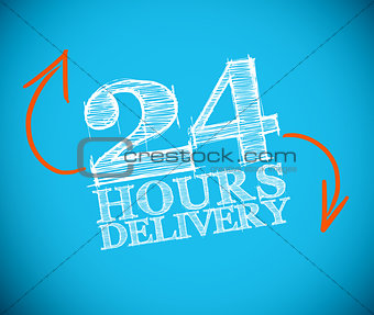 24 hours delivery drawing with orange arrows