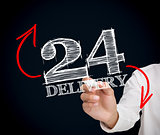 Businessman writing 24 delivery