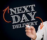Man writing next day delivery with a chalk