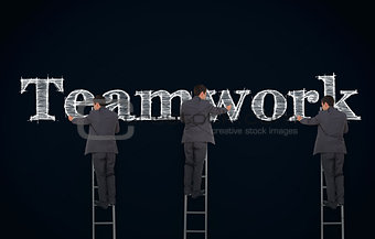 Multiple image of a businessman writing teamwork