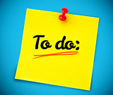 Yellow post it with to do written on it
