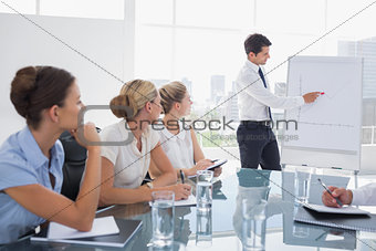 Businessman pointing at a growing chart