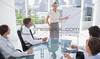 Blonde businesswoman pointing at a growing chart
