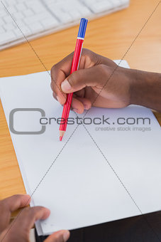 Creative business employee drawing something