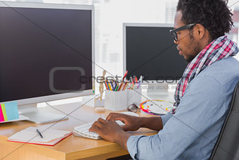 Calm business worker on computer