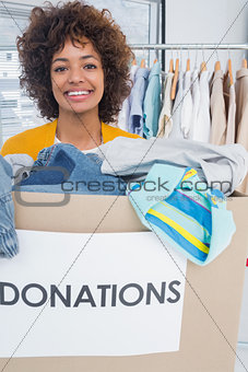 Attractive woman participating at charity