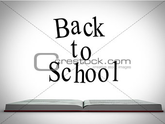 Back to school message above open book graphic