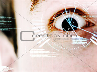 Dark eyed man with interface