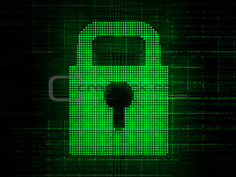 Green digital padlock
