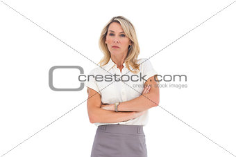 Angry businesswoman looking at the camera