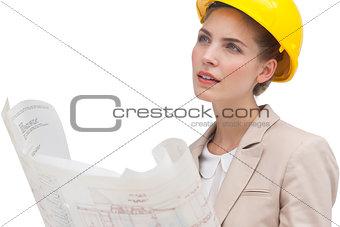 Thoughtful woman architect