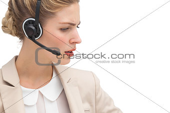 Annoyed call center agent