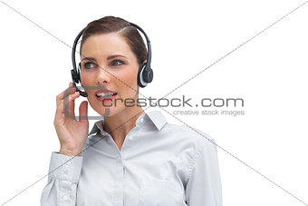 Call centre agent wearing headset