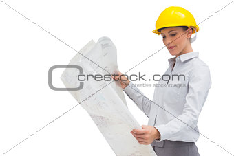 Smiling architect with blueprint