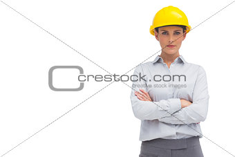 Architect woman with yellow helmet