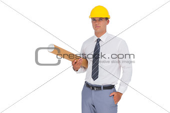 Architect holding a rolled up plan