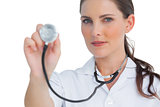 Nurse holding up stethoscope