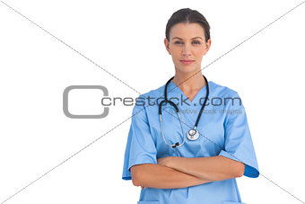 Smiling surgeon with stethoscope