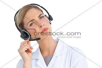 Nurse talking on headset