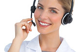 Happy nurse working with headset
