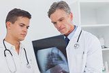 Two doctors analysing an xray