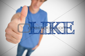 Boy representing social network logo with his thumb up
