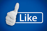White thumb up next to the like from social networks