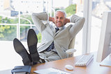 Businessman relaxing at desk and smiling at camera