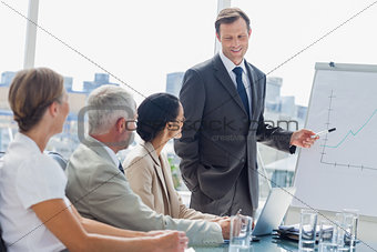 Smiling businessman pointing at whiteboard during a meeting