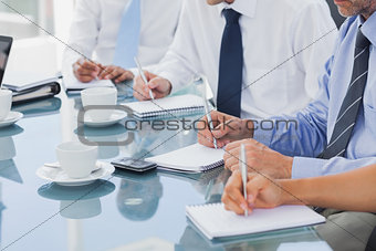 Business people taking notes on notepads