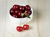 ripe cherries in bowl