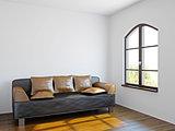 Livingroom with black sofa