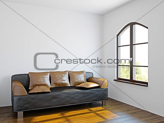 Livingroom with black sofa