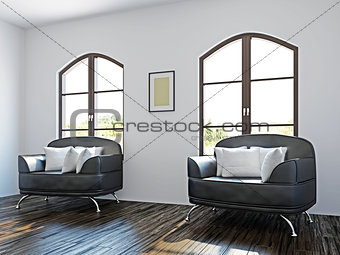 Livingroom with black chairs