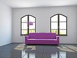 Livingroom with pink sofa