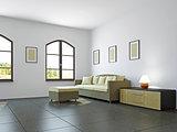 Livingroom with sofa and a shelf