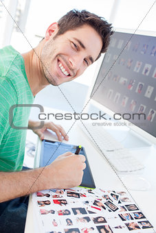 Photo editor working with a graphics tablet