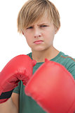 Blonde boy with boxing gloves