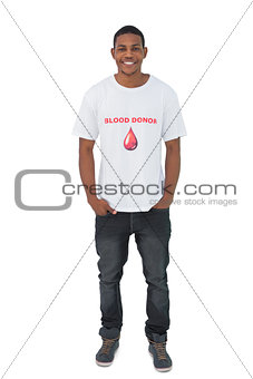 Attractive man wearing blood donor tshirt