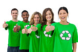 Cheerful group of environmental activists giving thumbs up