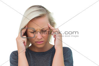 Attractive woman having a headache