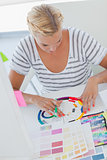 Interior designer working on a colour wheel