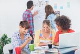Designers having a brainstorm together