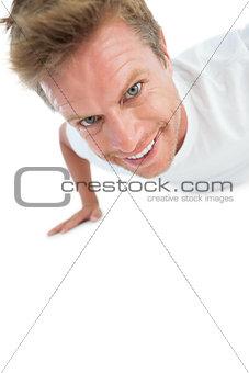 Man doing exercise push ups