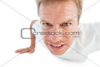 Athletic man doing push ups