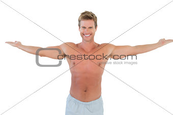 Attractive man opening his arms