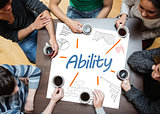Ability written on a poster with drawings of charts