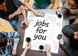 Jobs for you written on a poster with drawings of charts